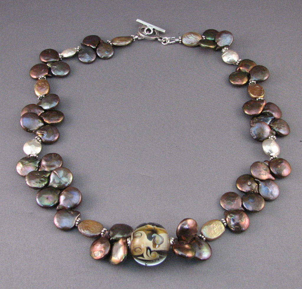 #N1005 Bronze Pearls and Gold Focal Necklace