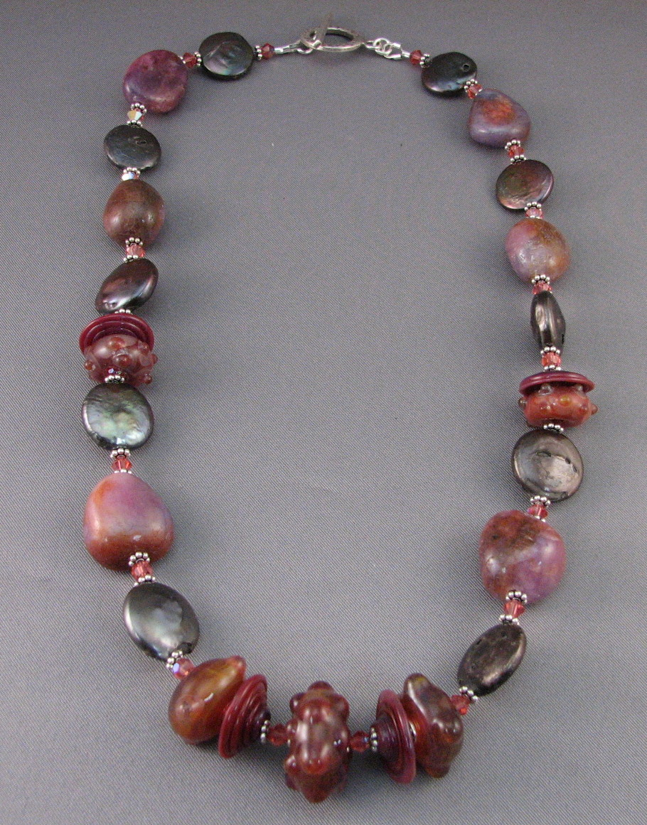 Ruby and Bronze Coin Pearl Necklace