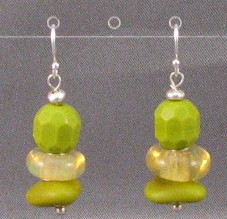 Chartreuse Lampwork Earrings