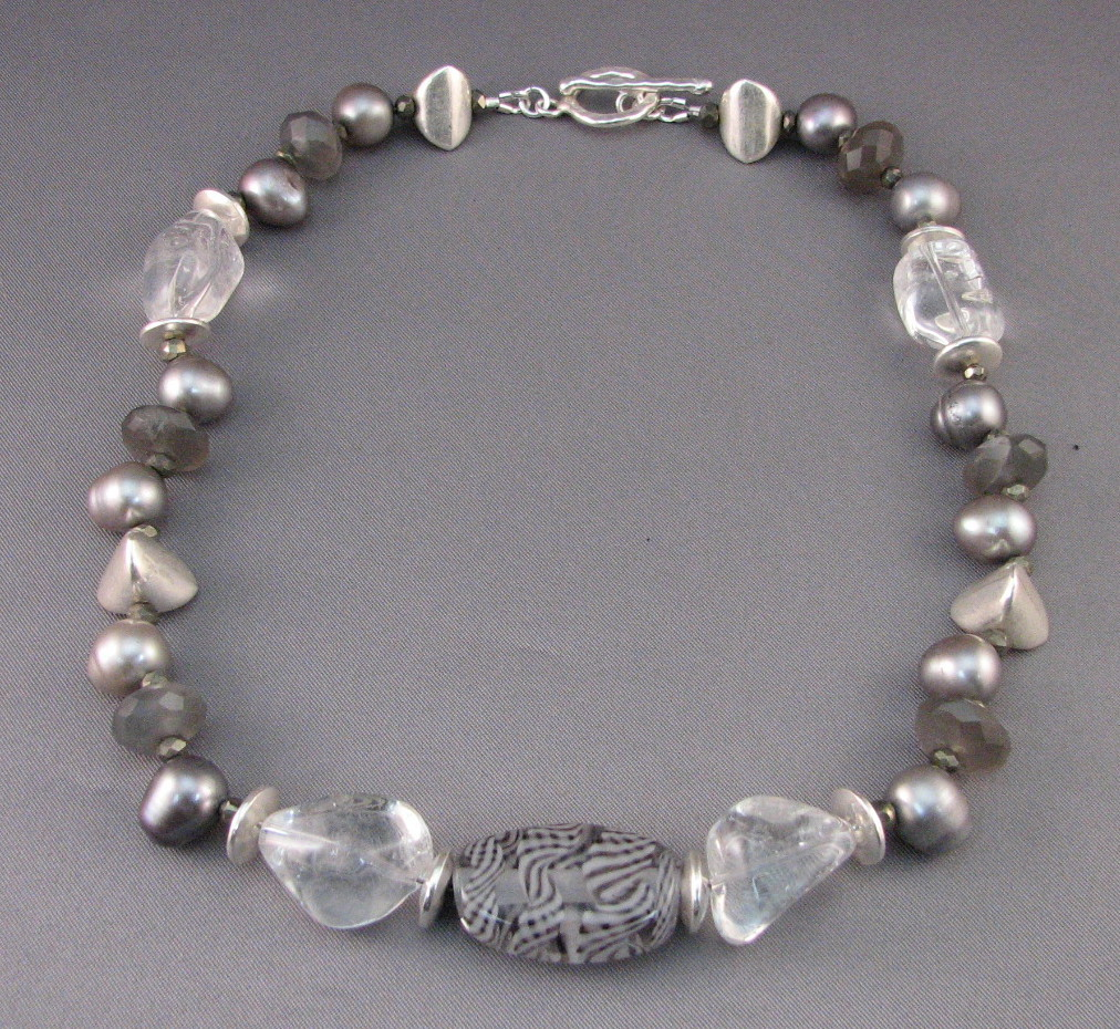 Shimmery Pearls and Quartz with Glass Necklace