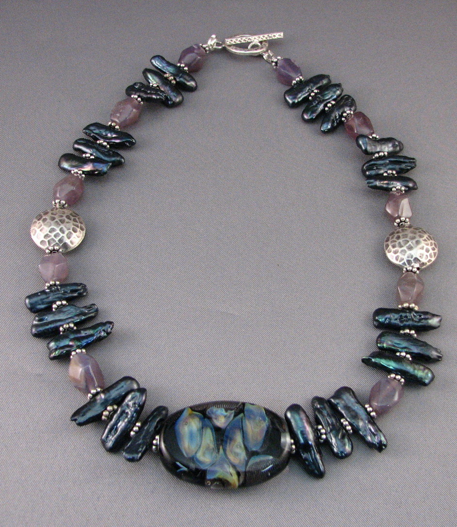 Purple Chalcedony  and Peacock Pearl Necklace