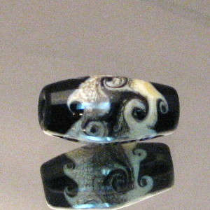 #FB2023 Black with Ivory Silver Foil Waves