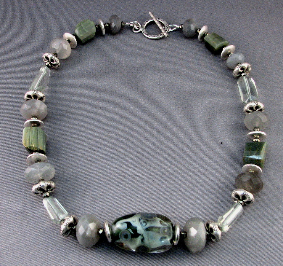 Soft Green Pools and Cats Eye Necklace